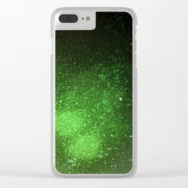 Green and Black Spray Paint Splatter Clear iPhone Case