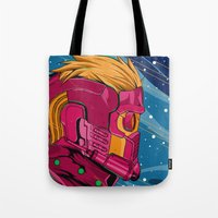 guardians of the galaxy Tote Bags featuring Starlord Guardians of the galaxy by W.B.