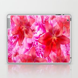 Peony And Lily Flower Bouquet In Vibrant Pink And Red Colors #decor #society6 #homedecor Laptop & iPad Skin