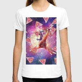 Thug Space Cat On Giraffe Unicorn - Pizza T-shirt