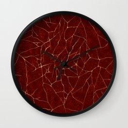 Kintsugi Red Wall Clock
