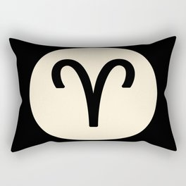 Aries Symbol Black Rectangular Pillow