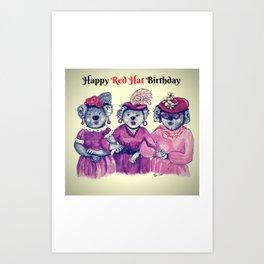 Happy Red Hat Birthday Art Print