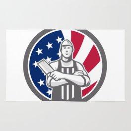 American Butcher Front USA Flag Icon Rug