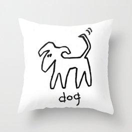 Dog - Black and White Throw Pillow