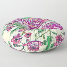 pp- pastell painted purple roses Floor Pillow