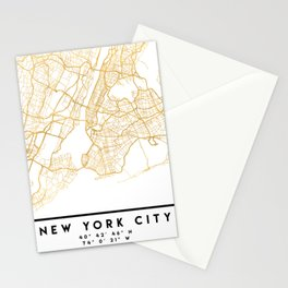 NEW YORK CITY NEW YORK CITY STREET MAP ART Stationery Cards