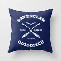 quidditch Throw Pillows featuring Ravenclaw Quidditch Team Seeker: Blue by Sharayah Mitchell