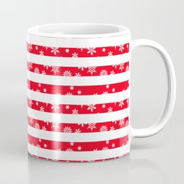 Red Candy Cane Stripes with Snowflakes Coffee Mug