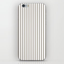 Mulch Brown Pinstripe on White iPhone Skin