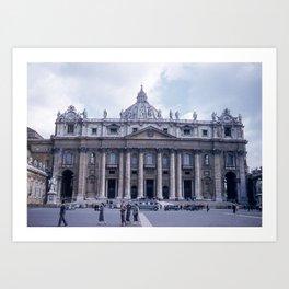 Vintage Color Photo * Kodachrome * St Peter's Basilica * 1950's * Vatican * Rome * Italy Art Print