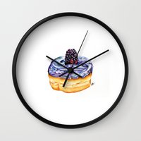 donut Wall Clocks featuring Donut by Amber-1107studio