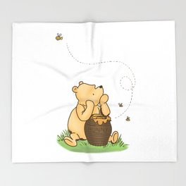 Classic Pooh with Honey - No background Throw Blanket
