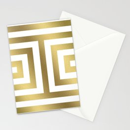 Gold Greek Stripes Stationery Cards