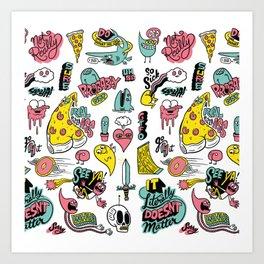 Weirdo Pizza Donut Sword Skull Pattern Art Print