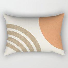 Mid-Century Modern - Orange Sun & Rainbow Rectangular Pillow