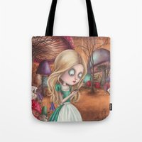 returns Tote Bags featuring Alice returns by Caroletta