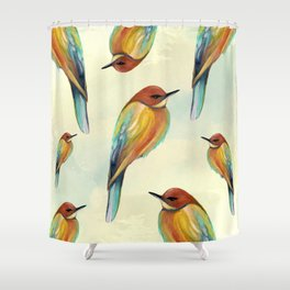 Watercolor Bird Pattern - Multicolor Feathers Shower Curtain