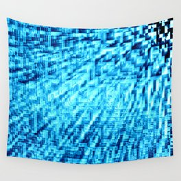 TURquoise Blue Pixel Wind Wall Tapestry