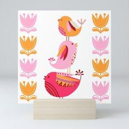 Happy Pink And Orange Birds And Blooms Mini Art Print