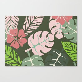 Tropical leaves green and pink paradises Canvas Print