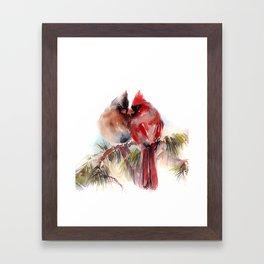Cardinal Birds Couple Framed Art Print