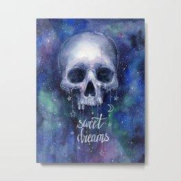 Sweet Dreams Skull in Space Metal Print