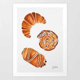 French pastries - croissant, chocolate, rasin Art Print