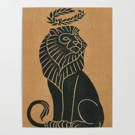 Vintage Lion Art Deco Illustration (1917) Poster