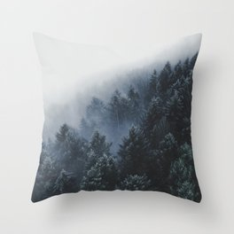 Snowy Evergreen Forest Fog (Color) Throw Pillow