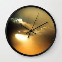 oklahoma Wall Clocks featuring Oklahoma Sky by Clipper and Nana Carrillo
