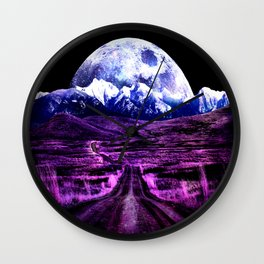 Highway to Eternity (moon mountain) Fuchsia Wall Clock