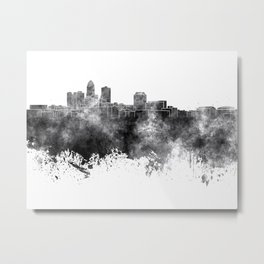 Des Moines skyline in black watercolor on white background Metal Print