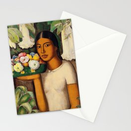 Mujer con Fiores (Bell Flowers, Dahlia & Calla Lilies) by Alfredo Martinez Stationery Cards