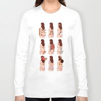 pizza Long Sleeve T-shirts featuring Girl & Pizza by Kimiaki Yaegashi