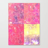 squirtle Canvas Prints featuring Squirtle Squad by pkarnold + The Cult Print Shop
