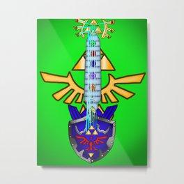 Zelda Guitar #1 - Hylian Shield & Master Sword (OoT) Metal Print