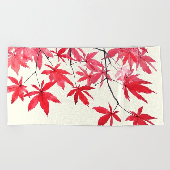 red maple leaves watercolor painting  Beach Towel