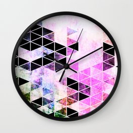 Pink & Black Modern Triangle Design Wall Clock