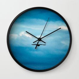 Solitary Seagull Flying Clouds Skyscape Wall Clock