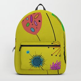 Silly Space-Age Flowers Yellow Background Backpack