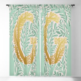 botanical Metallic Monogram - Letter G Blackout Curtain