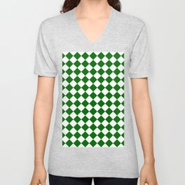 Diamonds - White and Dark Green Unisex V-Neck