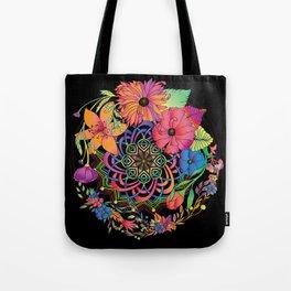 Neon Mandala and Flowers Tote Bag