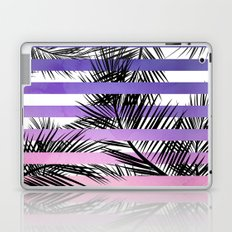 Watercolor summer sunset ombre stripes tropical palm tree Laptop & iPad Skin