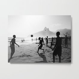 Beach Soccer at Ipanema Metal Print