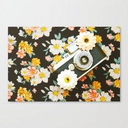Floral Vintage Camera (Color) Canvas Print
