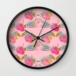 Wings and Roses Blush Pink Wall Clock