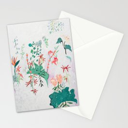 Abstract Jungle Floral on Pink and White Stationery Cards