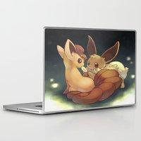 eevee Laptop & iPad Skins featuring Eevee and Vulpix by Yamilett Pimentel